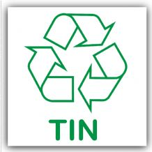 1 x Tin Recycling Self Adhesive Sticker-Recycle Logo Sign-Environment Label